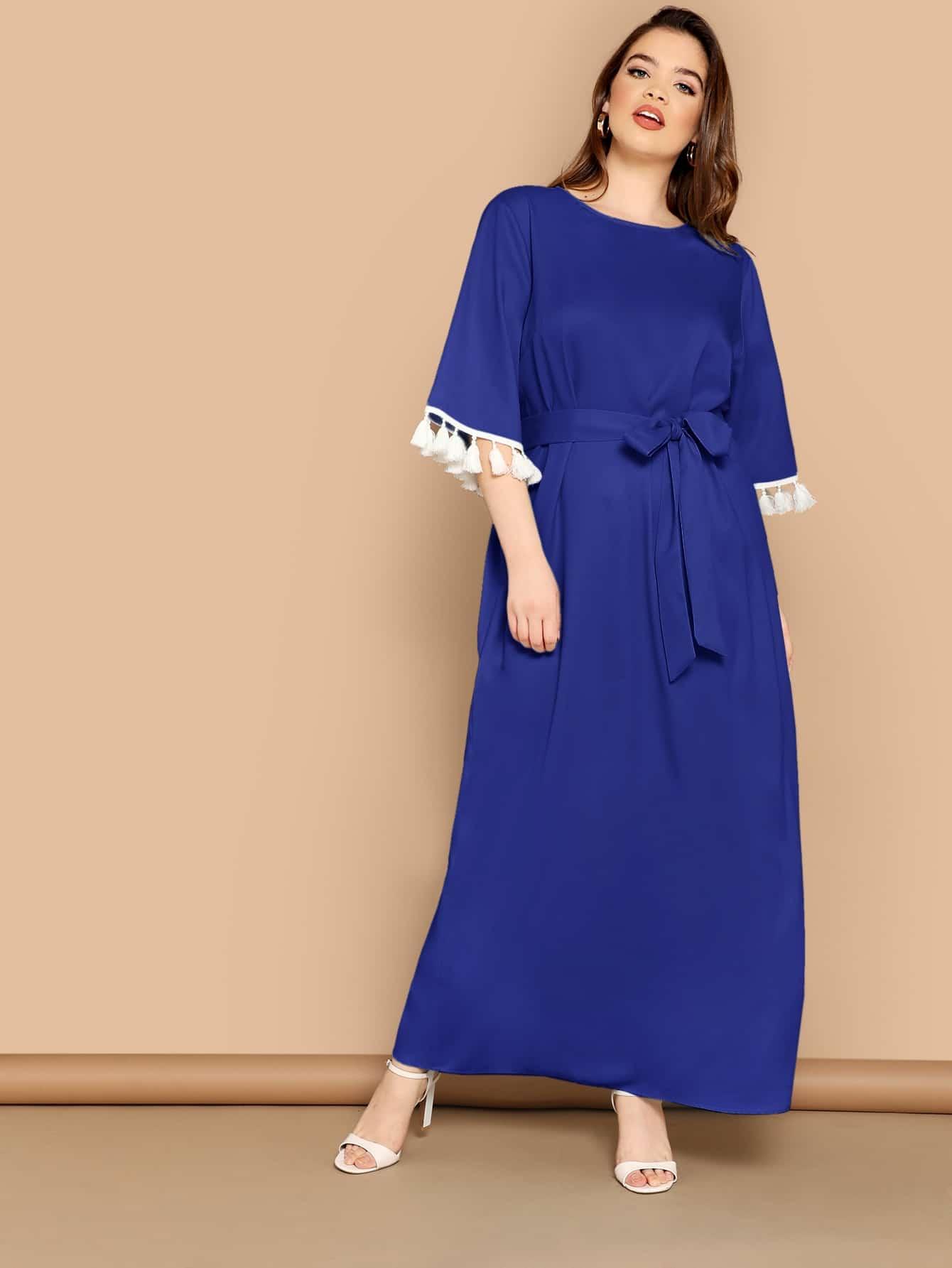 Фото - Платье размера плюс с поясом и бахромой от SheIn цвет синие