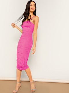 Neon Pink Ruched Pencil Cami Dress