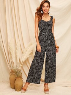 Frill Straps Knot Front Ditsy Floral Wide Leg Jumpsuit
