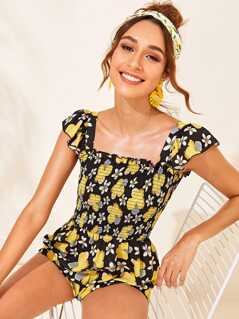 Flower Print Frill Trim Shirred Bodice Romper