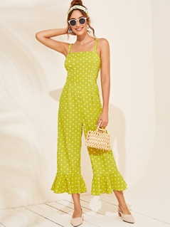 Shirred Back Ruffle Hem Polka Dot Cami Jumpsuit
