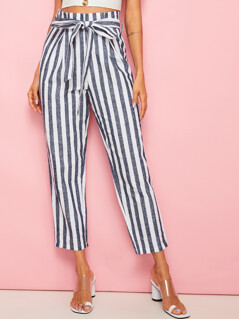Two Tone Striped Belted Crop Pants