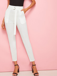 D-ring Belt Pocket Side Crop Pants