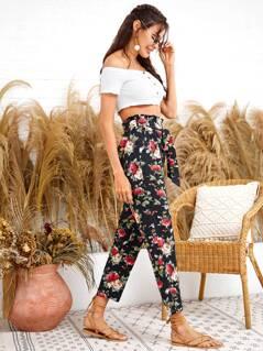 Floral Print Paperbag Waist Belted Crop Pants