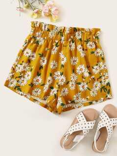 Frill Trim Elastic Waist Floral Print Shorts