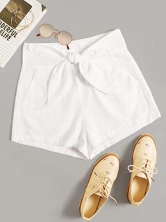 Knot Wide Waist Slant Pocket Shorts