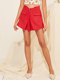 Flap Pocket Front D-ring Belted Shorts