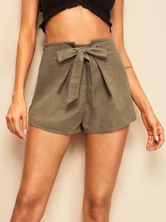 Solid Grommet Tie Waist Shorts