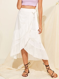 Layered Schiffy Ruffle Trim Wrap Skirt