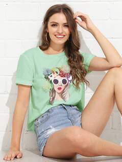 3D Floral Applique Figure Tee
