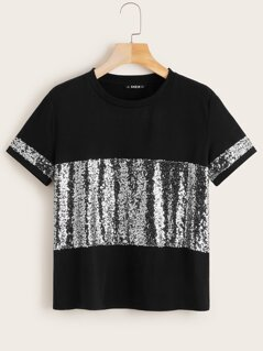 Sequin Panel Two Tone Top