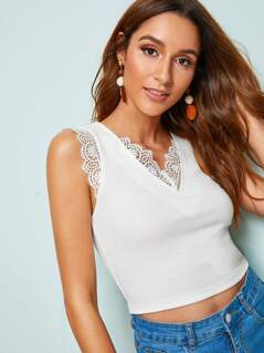 Lace Trim Rib-knit Crop Top