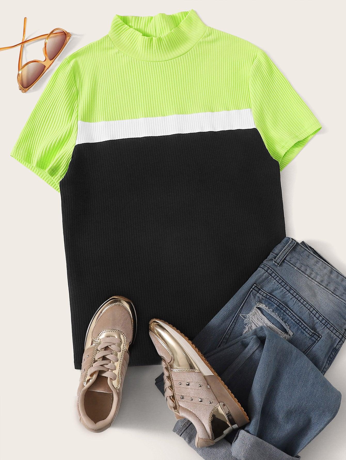 Фото - Размер плюс кроить и шить неоновая ребристая футболка от SheIn цвет многихцветные