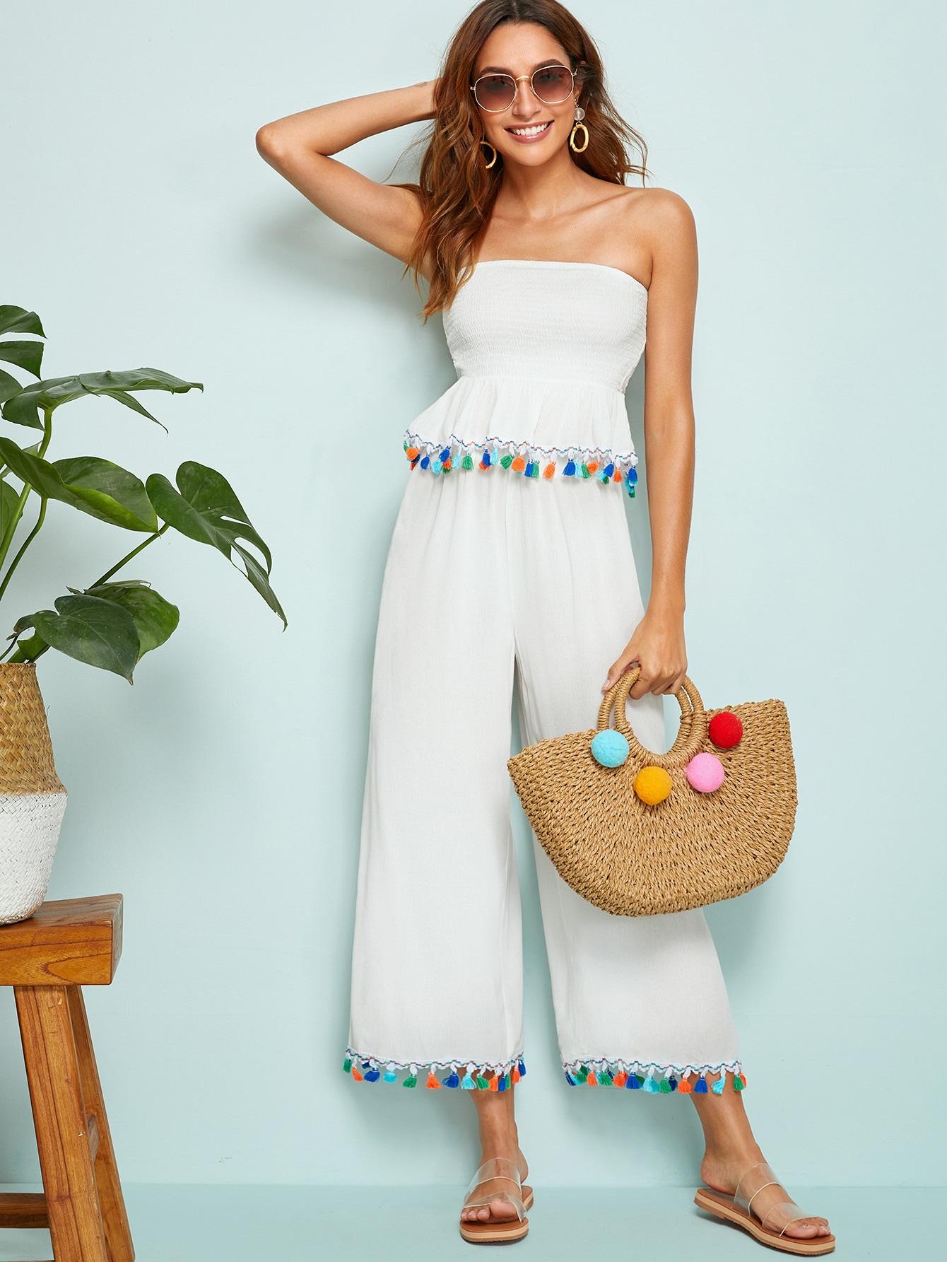 Фото - Бандо с бахромой и широкие брюки от SheIn белого цвета