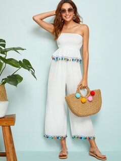 Tassel Trim Shirred Peplum Bandeau & Wide Leg Pants Set