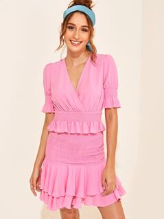 Ruffle Trim Shirred Wrap Top & Layered Hem Skirt Set