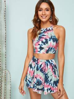 Tied Crisscross Back Tie Dye Top and Shorts Set