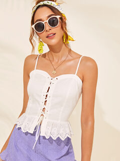 Lace Up Front Schiffy Ruffle Hem Cami Top