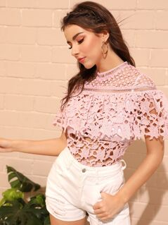 Mock Neck Guipure Lace Cape Top