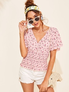Ditsy Floral Flutter Sleeve Button Shirred Hem Blouse