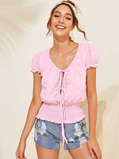 Tie Front Frilled Trim Shirred Top