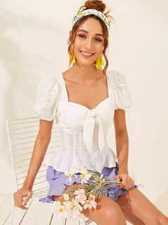 Lace Insert Puff Sleeve Tie Front Peplum Top