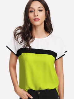 Neon Lime Keyhole Back Colorblock Curved Hem Top