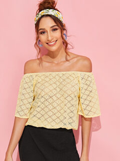 Off Shoulder Bell Sleeve Floral Lace Top
