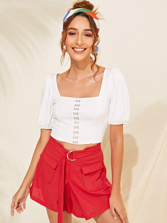 ad363390a667eb Puff Sleeve Hook And Eye Front Crop Top | MakeMeChic.COM