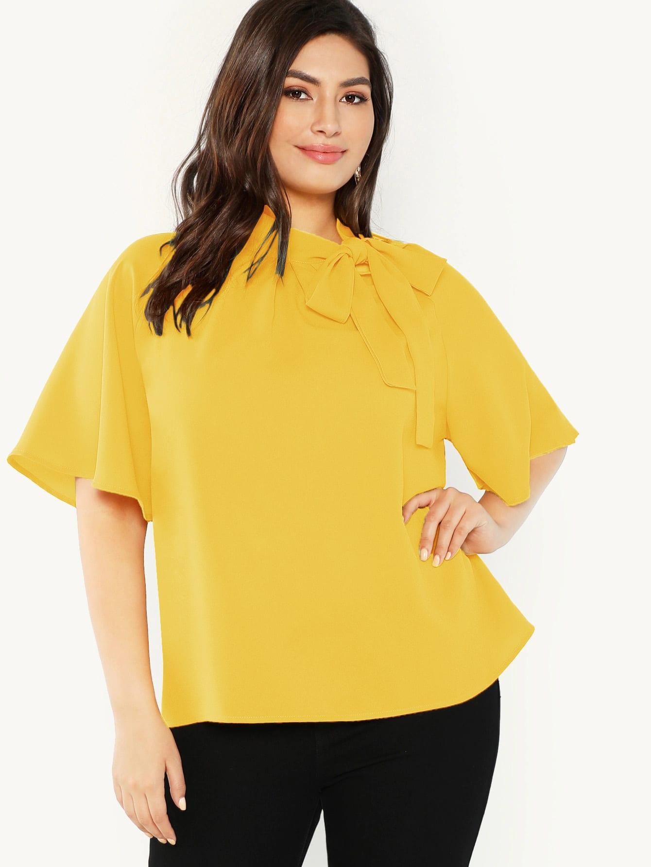 Фото - Топ размера плюс с оригинальным рукавом от SheIn цвет жёлтые