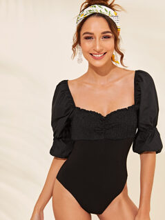 Frill Trim Puff Sleeve Shirred Bodysuit