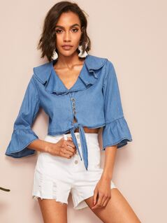 Flounce Sleeve Knotted Front Denim Shirt