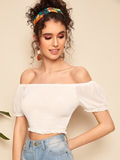 Puff Sleeve Shirred Bardot Top
