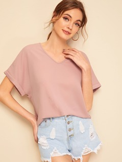Solid Rolled Cuff V Neck Top