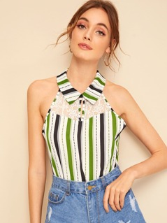 Lace Insert Collared Halterneck Striped Top