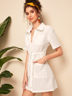 Pocket Patch Belted Shirt Dress