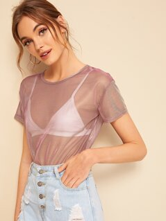 Sheer Mesh Top Without Bra