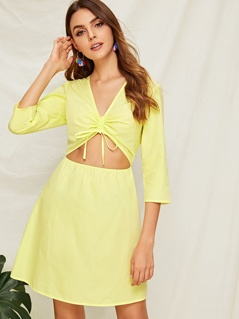 Neon Yellow Drawstring Front Peekaboo Dress
