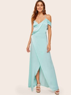 Criss-cross Backless Wrap Maxi Satin Dress