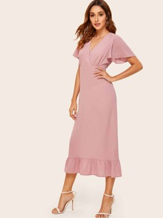 Flutter Sleeve Wrap Front Flounce Hem Dress