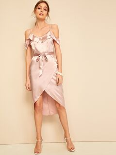 Ruffle Trim Belted Satin Dress With Wrap Skirt