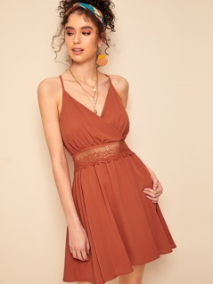 Lace Detail Tassel Tie Open Back Wrap Cami Dress
