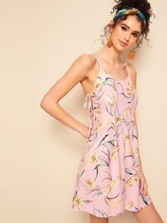 Floral Print Knotted Side Slip Sundress