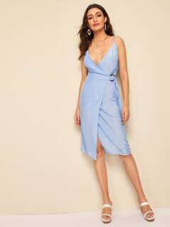 Deep V Neck Ring Belted Wrap Slip Dress