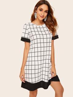 Color-block Grid Print Tunic Dress