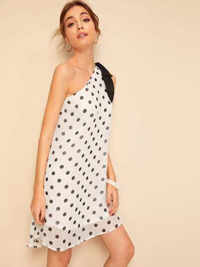 SheIn / Polka-dot One Shoulder Bow Detail Dress