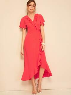 Split Flutter Sleeve Ruffle Hem Wrap Dress