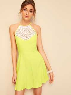 Lace Insert Tie Back Criss-cross Skater Dress