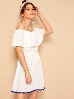 Pompom Hem Ruffle Overlay Bardot Dress