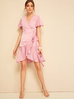 Flutter Sleeve Ruffle Hem Satin Wrap Dress